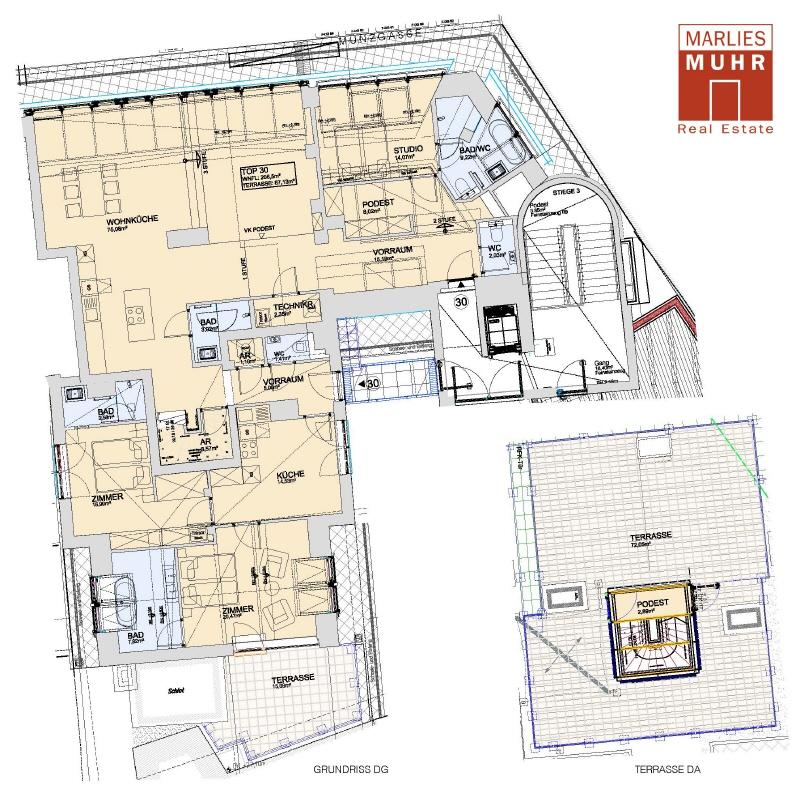 URBAN UND TROTZDEM RUHIG: Dachterrassenwohnung der Extraklasse nähe Wien Mitte /  / 1030Wien / Bild 2