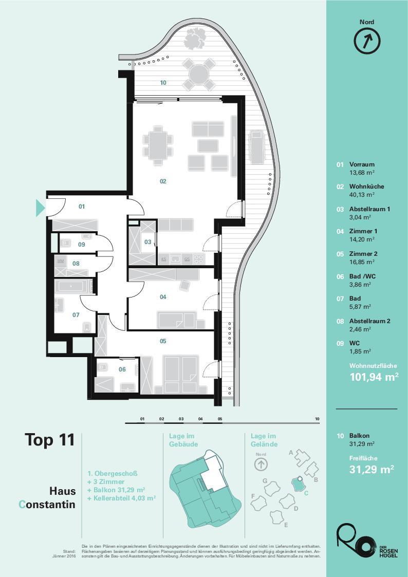 """""""Der Rosenhügel"""" - Provisionsfreier 3-Zimmer-Eigentumswohnung mit ca. 31.29 m² großem Balkon (Neubau!) /  / 1230Wien / Bild 1"""