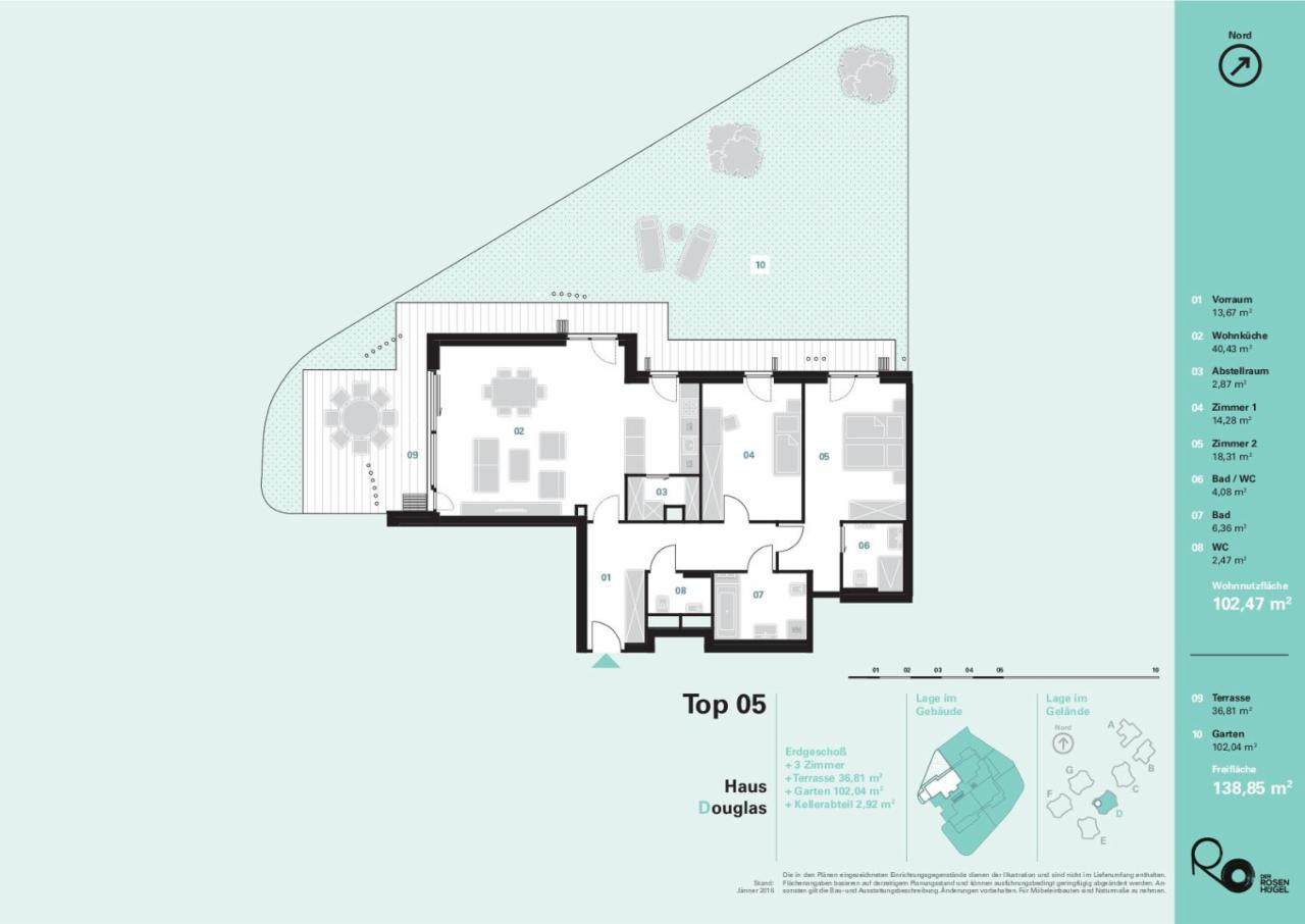 """""""Der Rosenhügel"""" - Provisionsfreie 3-Zimmer-Eigentumswohnung mit ca. 138.85 m² Garten- und Terrassenfläche (Neubau!) /  / 1230Wien / Bild 1"""