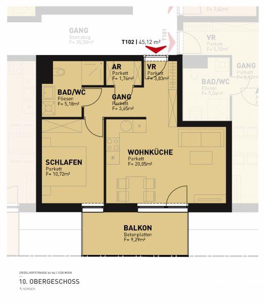 Erstbezug Neubau - große 2-Zimmer-Wohnung inkl Küche, 9,28m² Balkon und Kellerabteil - Garagenplatz verfügbar/Z102 OG10 /  / 1220Wien / Bild 6