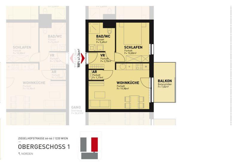Erstbezug 2-Zimmer-Wohnung inkl Komplettküche, Balkon und Kellerabteil beim Badeteich Hirschstetten/Z7 OG1 /  / 1220Wien / Bild 2