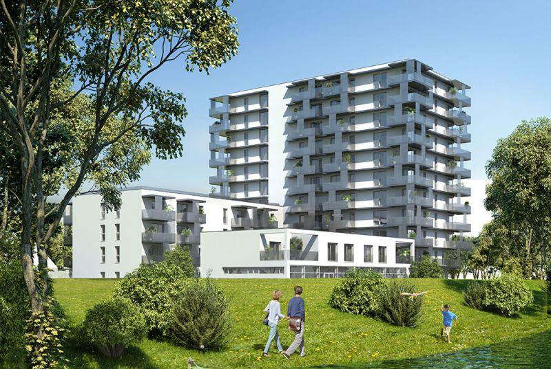 Neubau Erstbezug 2-Zimmer-Wohnung mit Markenküche, 9,29m² Balkon und Kellerabteil - Blick auf Hirschstettner Badeteich/Z54 OG4 /  / 1220Wien / Bild 1