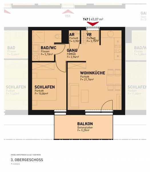 2-Zimmer-Wohnung inkl Markenküche, 9,28m² Balkon Außenfläche und Kellerabteil - Blick auf Hirschstettner Badeteich/Z47 OG3 /  / 1220Wien / Bild 2