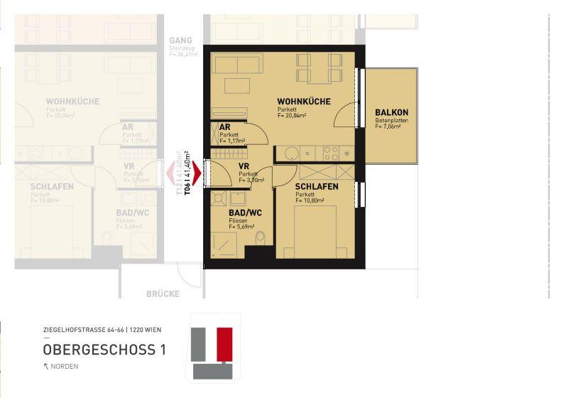 Erstbezug 2-Zimmer-Wohnung inkl Komplettküche, Balkon und Kellerabteil bei Badeteich Hirschstetten/Z6 OG1 /  / 1220Wien / Bild 5