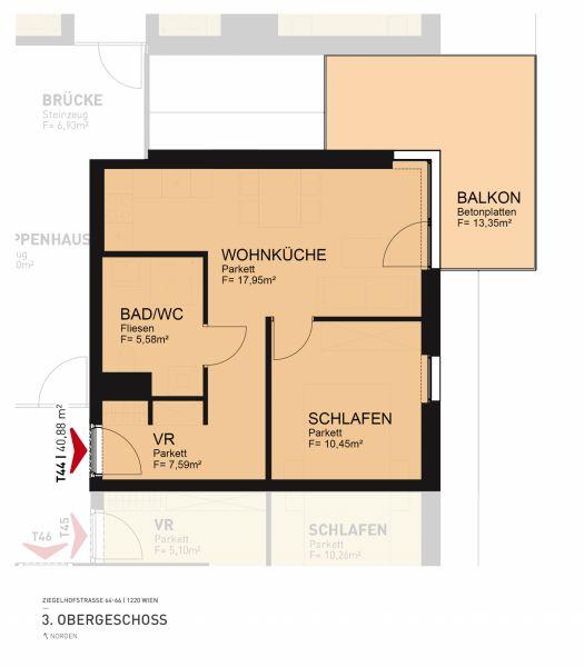 Neubau Erstbezugswohnung 2-Zimmer Neubau inkl Komplettküche, 13,10m² Balkonfläche und Kellerabteil - Badeteich vor der Türe/Z44 OG3 /  / 1220Wien / Bild 2